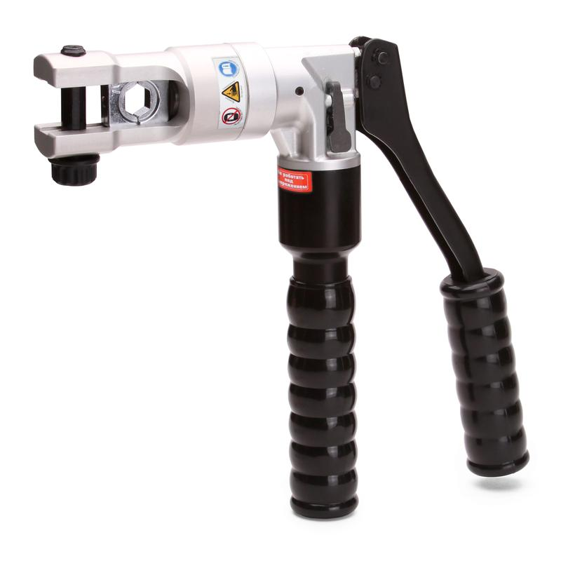 Hand-operated hydraulic crimping tool made of strong Alum alloy ПГРс-70АМ